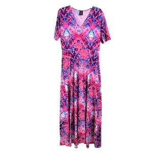 Agnes & Dora Maxi Dress Size Large Pink Blue Knit